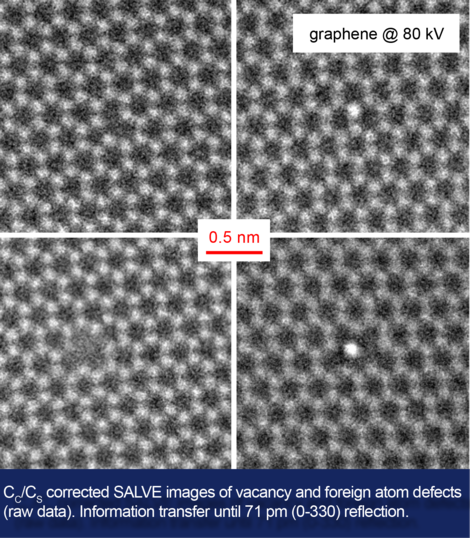 SALVE startpage main feature: Cs/Cc corrected measurements using the SALVE II microscope at CEOS in Heidelberg; tungsten and graphene real space and diffractogram