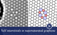 Thumbnail imaging and simulation of a self-interstitial dimer in graphene