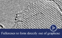 thumbnail-TEM image of graphene, atoms appear darker in a certain region